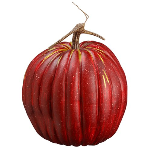 10.5''Hx9.5''W Artificial Weighted Pumpkin -Red/Green (pack of 4) by SilksAreForever