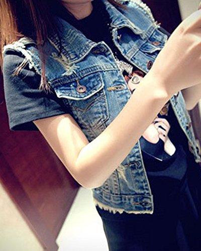 Maniche Blu Donna Eleganti Corte Senza Jeans Gilet Fit Slim Giacca Xqw7R