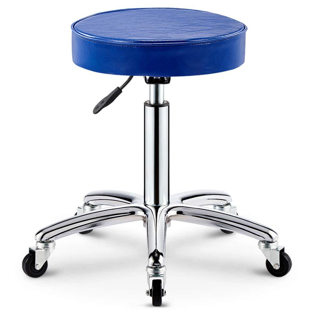 blueE2 Round Swivel Rolling Stool with Wheels Adjustable Work Drafting SPA Bar Medical Salon Stools(Black),blueE2