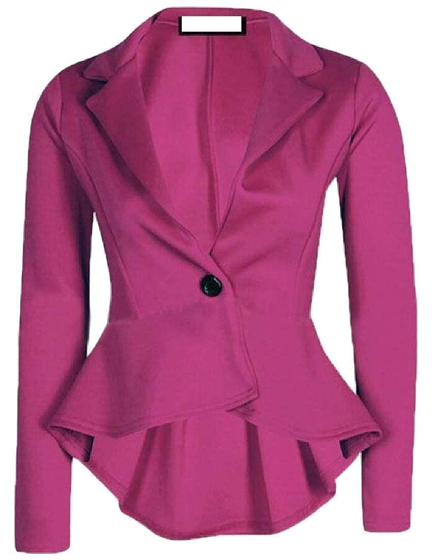 Alion Women Slim Fit 1 Button Pure Color Irregular Blazer Jacket