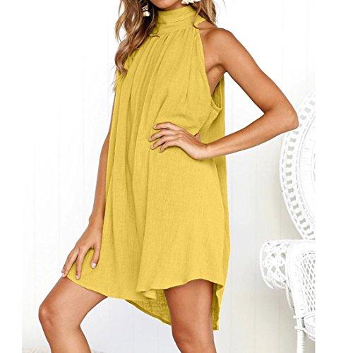Summer Beach Women's Irregular Dress Dress Falda Party Ladies NREALY Holiday Yellow Sleeveless 7fXOR