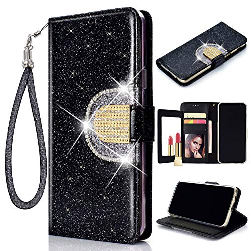 Glitter Flip Wallet Case for Samsung Galaxy S10e, Folio Kickstand with Mirror Wristlet Lanyard Shiny Sparkle Bling Luxury Women Girl Card Slots Cover for GalaxyS10e (Black)