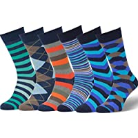 Easton Marlowe Mens 6 Pack Colorful Patterned Dress Socks, European Made