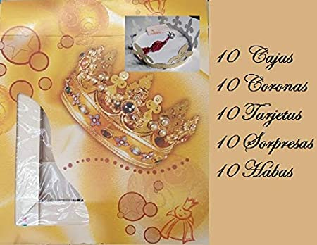 10 Cajas 40 cm x 40 cm, 10 Coronas, 10 Habas, 10 Tarjetas,10 Regalos Sorpresas para Roscón de Reyes: Amazon.es: Hogar