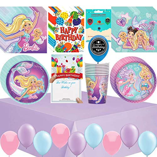 Barbie Mermaid Birthday Party Supplies Bundle of Cups Plates Napkins Balloons Table Cover Happy Birthday Card and Treat Bags Bundle]()