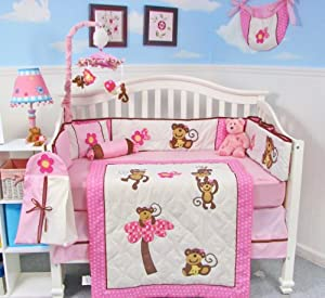 Soho Pink Monkey Party Baby Crib Nursery Bedding Set 13 Pcs Included Diaper Bag With Changing Pad Bottle Case by SoHo Designs
