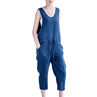 db9cd64e36cb Zainafacai Fashion Women s Baggy Denim Jean Overalls Harem Rompers Jumpsuit  Pant (Dark Blue