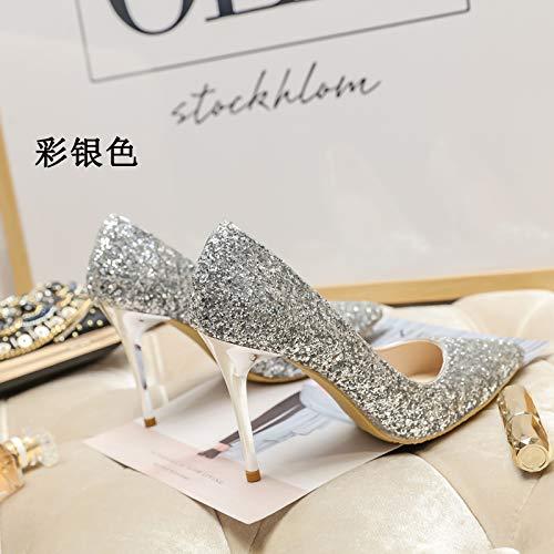 MLGSDW Ferse Hochhackige Schuhe Frau Feine Ferse MLGSDW Schrittweise Pailletten Scharfe Kristall Braut Schuhes36 [7,5 cm] Sterling Silber - a6810a