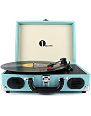 1byone tocadiscos con placa giratoria de 3 velocidades y altavoces incorporados, salida RCA/auriculares / MP3 / reproducción de música de móviles, turquesa