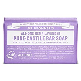 Dr. Bronner's Pure-Castile Bar Soap - Lavender, 5oz. (2 Pack) 93 LAVENDER. Scented with pure lavender and lavandin oils to calm the mind and soothe the body! Dr. Bronner's Lavender Bar Soap is made with certified fair trade ingredients and organic hemp oil for a soft, smooth lather that won't dry your skin GENTLE SOAP. This moisturizing bar soap offers organic and vegan ingredients for a rich, emollient lather. It is ideal for washing your body or face. With no synthetic detergents or preservatives, you can nourish your skin with every wash MULTI-USE. This multi-use bar soap can be used on its own as a traditional body or face scrub, or you can dilute it in various recipes for anything from a pest spray to laundry wash. This gentle, yet powerful soap is the ultimate multi-use cleaner