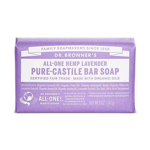 Dr. Bronner's - Pure-Castile Bar Soap (Lavender, 5 ounce, 2-Pack) - Made with Organic Oils, For Face, Body and Hair, Gentle and  Moisturizing, Biodegradable, Vegan, Cruelty-free, Non-GMO 1 MOISTURIZING LATHER THAT WON'T DRY YOUR FACE, BODY, OR HAIR: Our bar soaps produce a rich lather that won't dry out your skin! Dr. Bronner's is made with only the purest certified organic oils and will leave your skin feeling soft and smooth. MADE WITH ORGANIC OILS THAT ARE GENTLE and EFFECTIVE: We don't add any chelating agents, dyes, whiteners, or synthetic fragrances-only all-natural, vegan ingredients that are gentle, effective, and mild. Use on your face, body, or hair! NO SYNTHETIC PRESERVATIVES, DETERGENTS, OR FOAMING AGENTS: Our Pure-Castile Bar Soap is made with plant-based ingredients you can pronounce-no synthetic preservatives, thickeners, or foaming agents-good for the environment and great for your skin!