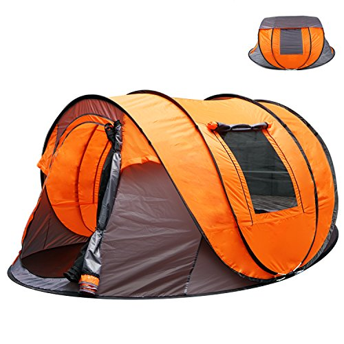 OILEUS XL Instant Pop Up Tents for Camping 5-6 Person Tent with Sky-window Easyup-Fast Pitch & Fold with 14 Reinforced Steel Stakes & Carrying Bag Ideal for Family Backpacking Hiking (Steel Row Tarp 2)