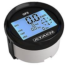3-3/8'' ATACH GPS speedometer gauge with high speed recall and blue backlight … (BLACK / BLACK BEZEL)