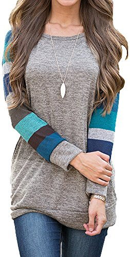 AmySister Women's Cotton Pullover Crewneck Knitted Tunic Sweatshirt Tops XL ()