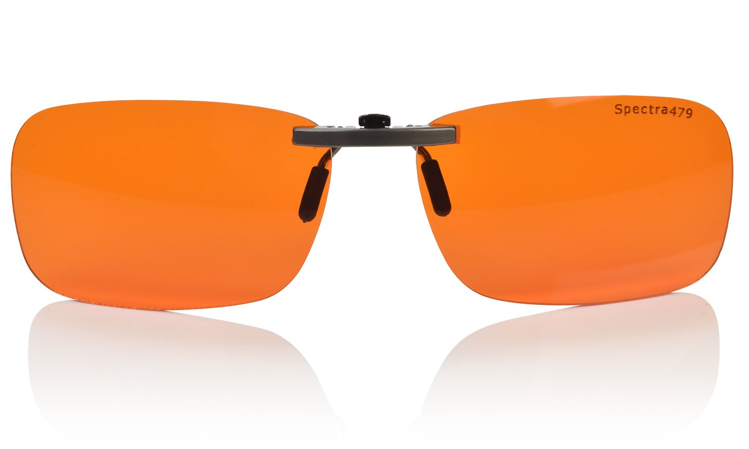 Clip-on Blue Blocking Amber Lenses for Sleep - BioRhythm Safe(TM) - Nighttime Eye Wear - Special Orange Tinted Lenses Help You Sleep and Relax Your Eyes (Nighttime Lens) by Spectra479
