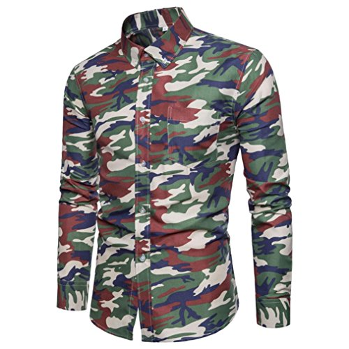 (Pervobs Mens Long Shirts, Big Promotion! 2018 Newest Men Casual Long Sleeve Shirts Camouflage Print Formal Pullover Top Blouse (XL, Army)
