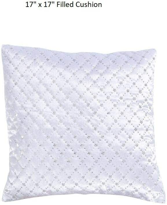 Beige Atlanta, 14 X 20 Filled Cushion MiMis Warehouse Collection Beautiful Sequin Quilted Bedspread Bed Set Throw Comforter Available in Single Double /& Super King Size