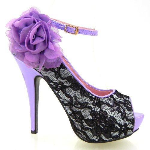 Show High LF30408 Flowers Peep Sexy Story Stiletto Platform Toe Shoes Heel Lace Purple qrAqBRF