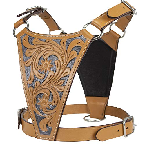 cuteNfuzzy 97-7300-NT-M 1 Premium Tooled Gaucho Leather Padded Dog Pulling Harness - Available in Four Sizes & Two Styles - Great for Bully Breeds, Natural Tan, - Gaucho Harness