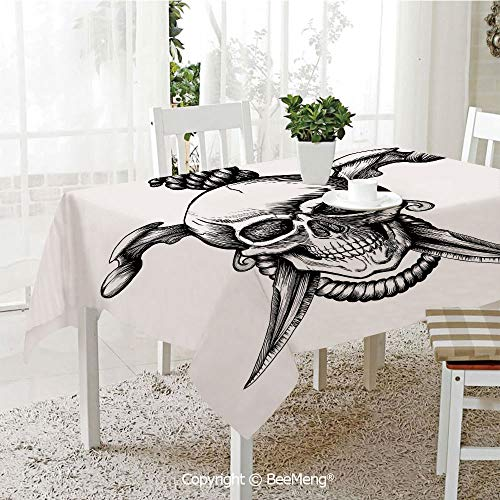 (Spring and Easter Dinner Tablecloth,Kitchen Table Decoration,Pirate,Jolly Roger Skull with Two Knifes Bones and Hanging Rope Gothic Criminal Halloween Decorative,Black White,59 x 83)