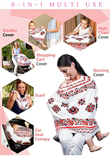 Floral Nursing Cover Carseat Canopy / 1 Breastfeeding Cover and 2 Nursing Pads and 1 Carry Bag / Multi Use Baby Car Seat, Stroller, Shopping Cart Covers for Girls and Boys by Belle Joelle by Belle Joelle (Image #6)