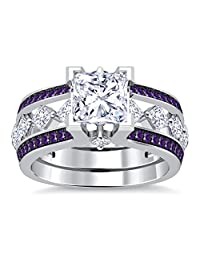 Smjewels 10K White Gold PL Amethyst Sim Diamond Interchangable Ladies Special Engagement Ring