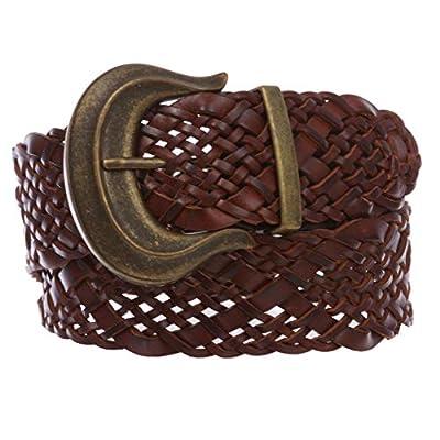 "Women's 2"" wide Hip High Waist Braided Woven cowhide full grain Leather Belt"