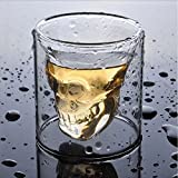 Amzdeal Wine Glass Skull Head Skull Shape 75ml Vodka / Whisky transparent crystal Pack of 6 Valentine's Day Gifts
