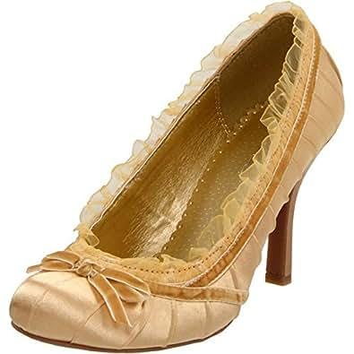 Women's Ellie Shoes 406-Doll Satin Pump Gold 7