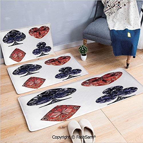 3 Piece Fashion Flannel Door Mat Carpet Diamond Shaped Cards Poker Face Fortune Symbols Sapphire Dijital Prints for Door Rugs Living Room(W15.7xL23.6 by W19.6xL31.5 by W19.6xL59)