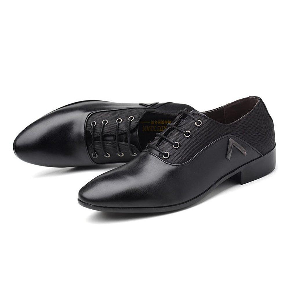 ZX Leder Oxford Schuhe Männer, Glatte PU-Leder & Leinwand Splice Schuhe Obere Lace up Atmungsaktive Formale Geschäfts Oxfords Für Männer (Farbe : Black, Size : 45 EU)