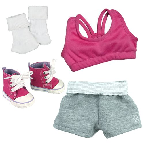 - Doll Clothes Sports 4 Pc. Set Fit for American Girl Dolls - 18 Inch Doll Set Includes; Doll Athletic Top, Sports Shorts, Socks and Hot Pink Hi Top Doll Sneakers