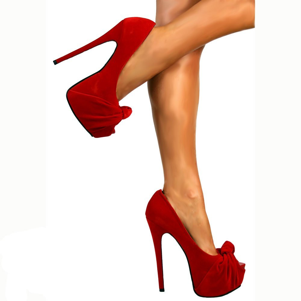 d36c68f97565 Onlineshoe Peep Toe Stiletto Concealed Platform High Heel Shoes - Red  Knotted Suede UK 7 - EU40  Amazon.co.uk  Shoes   Bags