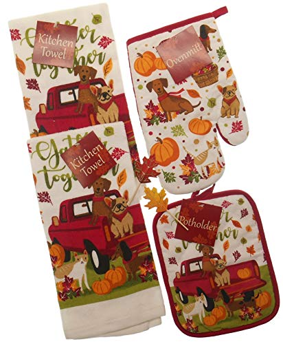 Gather Together Fall Kitchen Towels Set Featuring Red Pick up with Dogs and Cat - 2 Towels, Pot Holder and Mitt with 2 Fall Leaf Picks- Bundle of 6