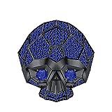RUDRAFASHION Men's & Women's 14K Black Gold Plated 3.80 ctw Created Blue Sapphire Half Jaw Skull Ring