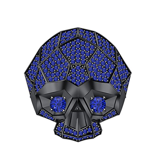 RUDRAFASHION Men's & Women's 14K Black Gold Plated 3.80 ctw Created Blue Sapphire Half Jaw Skull Ring by RUDRAFASHION