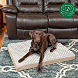 Furhaven Pet Dog Bed | Deluxe Orthopedic Mat Ultra Plush Faux Fur Traditional Foam Mattress Pet Bed w/ Removable Cover for Dogs & Cats, Cream, Large