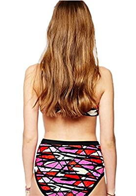 Moon Soul Women Contrast Color Geometric Joint High Waist Bikini Suit Swimwear