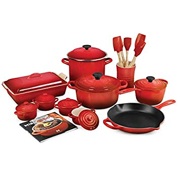 le chef 19 piece all enameled cast iron cherry. Black Bedroom Furniture Sets. Home Design Ideas
