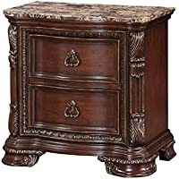 Emerald Home Riviera Brown Nightstand with Two Drawers And Antiqued Hardware