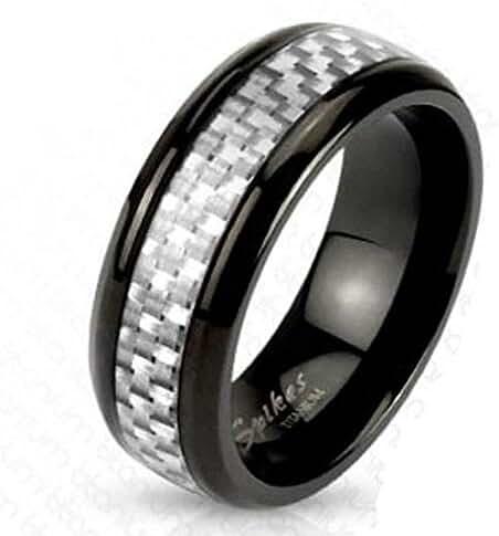 White Silver Carbon Fiber Inlay Center Band Ring Black IP Titanium