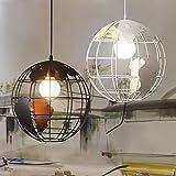 LEDIARY Earth Shape Iron Industrial Retro Pendant Lamp Art Deco Hanging Lamp Droplight Vintage Light,One Head,E26 Holder,Balck Color,20CM