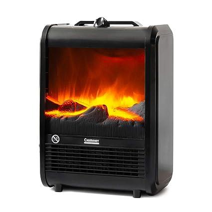 NEWTECK Calefactor Eléctrico Chimney Termoventilador, 1500W, Estufa Cerámica Efecto Chimenea Portátil Bajo Consumo, Estufa Aire Caliente, 2 vel, ...