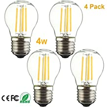 Pack of 4 Dimmable 4W Vintage Filament LED Edison Light Bulb,G45 Style Bulb E26 Medium Base LED Bulb,2700K Warm Light