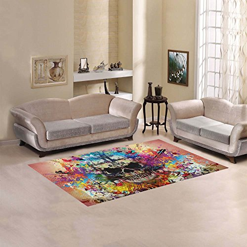 "Artsadd Skull Area Rug Carpet 5'x3'3"" Floor Rug for Living Room Bedroom Review"