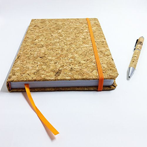 Cork Cover Planner with Ballpoint Cork Pen – Orange Strap and Bookmark - 96-page Lined Journal – 8.4 x 5.8-inch – Ideal Wedding Planner, Progress Tracker, Prayer Book, or - Mens Jurnal