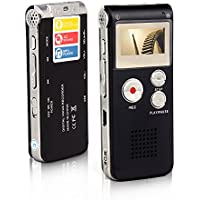 Btopllc Digital Voice Recorder 8GB, Digital Voice Recorder MP3, Lecture Dictaphone Stereo Mini USB MP3 Music Player / Dictaphone for Recording Interviews, Conversation and Lectures - Black