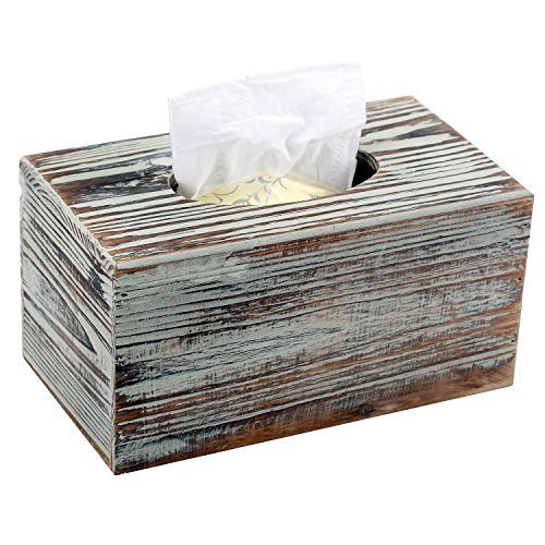 MyGift Decorative Rustic Torched Wood Rectangular Facial Tissue Box Cover (Country Tissue Dispenser)