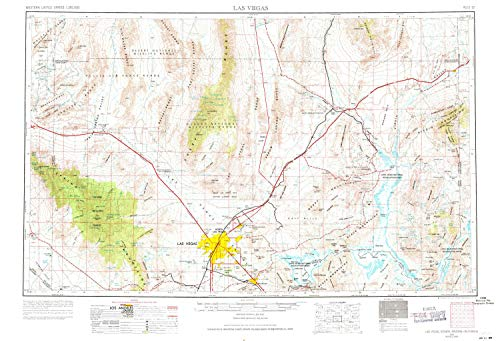 (YellowMaps Las Vegas NV topo map, 1:250000 Scale, 1 X 2 Degree, Historical, 1954, Updated 1971, 21.9 x 32.1 in - Paper)