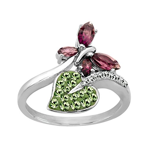 Butterfly Ring with Violet, Meadow & White Swarovski Crystals in Sterling Silver